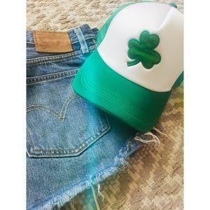 StPatrick's day green four leaf clover trucker hat